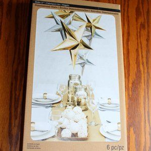 3D Foil Gold/Silver Stars Pack Of 6 Recollections
